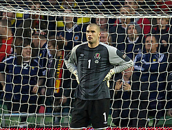 DUBLIN, REPUBLIC OF IRELAND - Wednesday, May 25, 2011: Wales' goalkeeper Boaz Myhill looks dejected as Scotland score the second goal during the Carling Nations Cup match at the Aviva Stadium (Lansdowne Road). (Photo by David Rawcliffe/Propaganda)