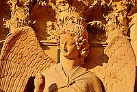 France, Marne (51), Reims, la cathédrale Notre-Dame de Reims, classée Patrimoine Mondial de l'UNESCO, cathédrale des sacres des rois de France, sculpture représentant l'ange au sourire // France, Champagne, Reims, Reims Cathedral, Guardian Angel Saint-Nicaise (Angel in Smile) (Smile of Reims)