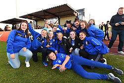 Members of Cardiff Bluebelles FC at Stoke Gifford Stadium supporting Bristol City Women - Mandatory by-line: Paul Knight/JMP - 09/05/2017 - FOOTBALL - Stoke Gifford Stadium - Bristol, England - Bristol City Women v Manchester City Women - FA Women's Super League Spring Series