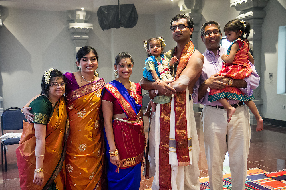 Pearland, Texas: Hema Ramaswamy with sisters Geetha Radhakrishnan and Uma Shankar, niece Rukmini, brothers-in-law Ananth Shankar and Ravi Radhakrishnan, and niece Meena on May 18, 2014.
