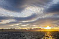 Sunset over the Cordillera Darwin Mountains from the Beagle Channel, Chile.