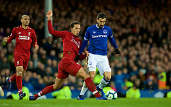 LIVERPOOL, ENGLAND - Sunday, March 3, 2019: Liverpool's Virgil van Dijk tackles Everton's Andre Gomes during the FA Premier League match between Everton FC and Liverpool FC, the 233rd Merseyside Derby, at Goodison Park. (Pic by Laura Malkin/Propaganda)