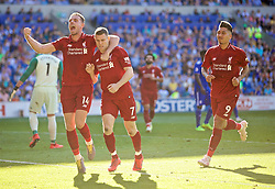 CARDIFF, WALES - Saturday, April 20, 2019: Liverpool's captain James Milner celebrates scoring the second goal from a penalty kick  during the FA Premier League match between Cardiff City FC and Liverpool FC at the Cardiff City Stadium. (Pic by David Rawcliffe/Propaganda)