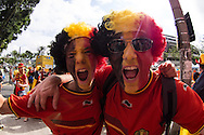 Belgian fans outside a bar before the 2014 FIFA World Cup match at Maracana Stadium, Rio de Janeiro, Brazil. <br /> Picture by Andrew Tobin/Focus Images Ltd +44 7710 761829<br /> 22/06/2014