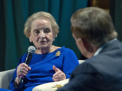 September 11, 2016 - Washington, District of Columbia, United States of America - Former United States Secretary of State Madeleine Albright participates in a panel ''Fifteen Years After 9/11'' before 1300 women philanthropists at the Jewish Federations' 2016 International Lion of Judah Conference at the Washington Hilton Hotel on Sunday, September 11, 2016. Former US Secretary of Homeland Security Tom Ridge looks on from left..Credit: Ron Sachs / CNP (Credit Image: © Ron Sachs/CNP via ZUMA Wire)