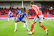 Milan Lalkovič of Walsall FC takes on Donervon Daniels of Wigan Athletic during the Sky Bet League 1 match between Walsall and Wigan Athletic at the Banks's Stadium, Walsall, England on 20 February 2016. Photo by Mike Sheridan.