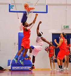 Bristol Flyers' Alif Bland blocks a effort from leeds  - Photo mandatory by-line: Joe Meredith/JMP - Mobile: 07966 386802 - 18/04/2015 - SPORT - Basketball - Bristol - SGS Wise Campus - Bristol Flyers v Leeds Force - British Basketball League