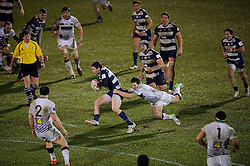 Bristol Outside Centre (#13) Luke Eves is tckled as he breaks during the second half of the match - Photo mandatory by-line: Rogan Thomson/JMP - Tel: Mobile: 07966 386802 25/01/2013 - SPORT - RUGBY - Memorial Stadium - Bristol. Bristol v Leeds Carnegie - RFU Championship.