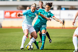 Dominika Conc of Slovenia and Dzsenifer Marozsan of Germany during football match between Slovenia and Germany in Womans Qualifications for World Championship 2019, on April 10, 2018 in Sports park Domzale, Domzale, Slovenia. Photo by Ziga Zupan / Sportida