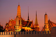 Dusk at Wat Phra Kaew at Grand Palace, Old City, Bangkok, Thailand