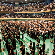 TOKYO, JAPAN - AUGUST 15 : People observe a one minute silence to pay respects during the memorial service at the Nippon Budokan on the 71st anniversary of the Japan's war surrender on August 15, 2016 in Tokyo, Japan. (Photo by Richard Atrero de Guzman/NURPhoto)