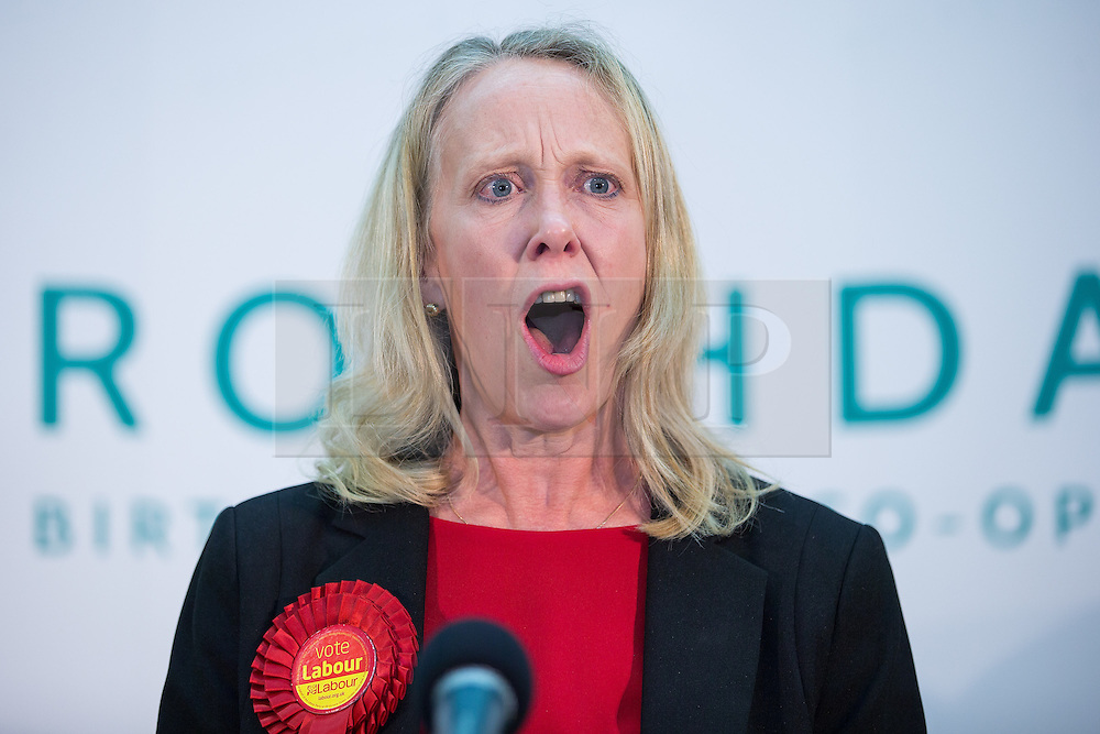 © Licensed to London News Pictures . 10/10/2014 . Heywood , UK . Labour candidate LIZ McINNES delivers her victory speech . The count at the Heywood and Middleton by-election , following the death of sitting MP Jim Dobbin . Photo credit : Joel Goodman/LNP