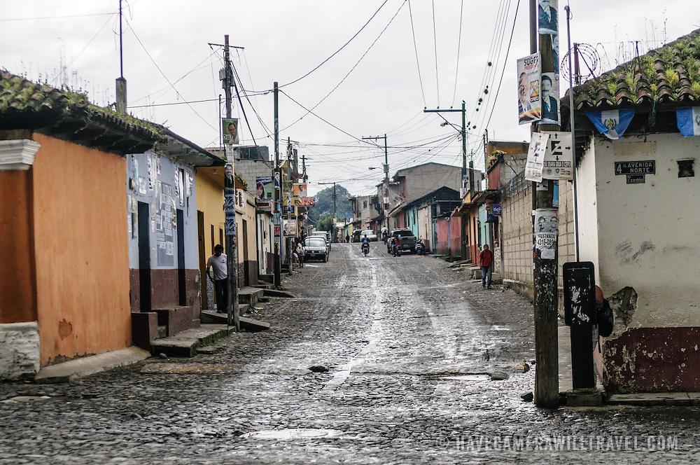 A residential street in Iglesia en San Pedro las Huertas near Antigua, Guatemala.