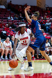 NORMAL, IL - November 30: Tete Maggett defended by Tamiah Stanford during a college women's basketball game between the ISU Redbirds and the Skyhawks of UT-Martin November 30 2019 at Redbird Arena in Normal, IL. (Photo by Alan Look)