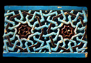 Glazed ceric tile from Uzbekistan, Bukhara or Samarkand. 1370 - 1507 AD Islamic geometric design