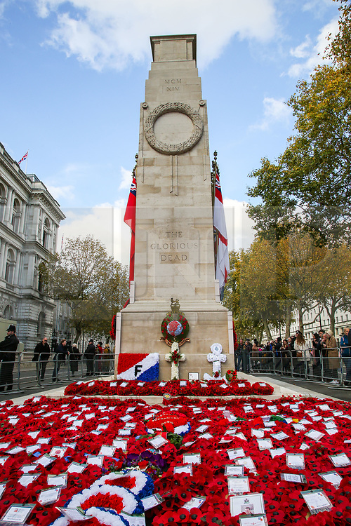 © Licensed to London News Pictures. 10/11/2019. London, UK.Wreaths at the Cenotaph memorial in Whitehall, central London laid by politicians and ambassadors on Remembrance Sunday. Remembrance Sunday is held each year to commemorate the service men and women who fought in past military conflicts. Photo credit: Dinendra Haria/LNP