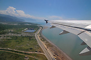 takeoff from Batumi international airport, Georgia from within a cabin of an Airbus 320