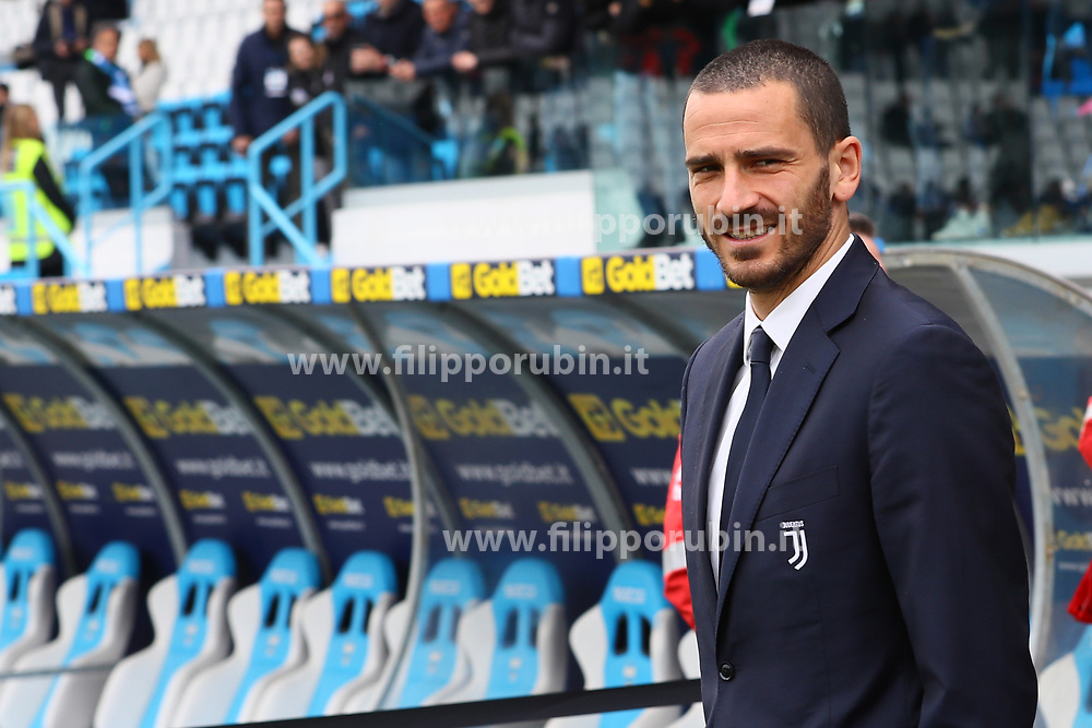 "Foto LaPresse/Filippo Rubin<br /> 13/04/2019 Ferrara (Italia)<br /> Sport Calcio<br /> Spal - Juventus - Campionato di calcio Serie A 2018/2019 - Stadio ""Paolo Mazza""<br /> Nella foto: LEONARDO BONUCCI (JUVENTUS)<br /> <br /> Photo LaPresse/Filippo Rubin<br /> April 13, 2019 Ferrara (Italy)<br /> Sport Soccer<br /> Spal vs Juventus - Italian Football Championship League A 2018/2019 - ""Paolo Mazza"" Stadium <br /> In the pic: LEONARDO BONUCCI (JUVENTUS)"