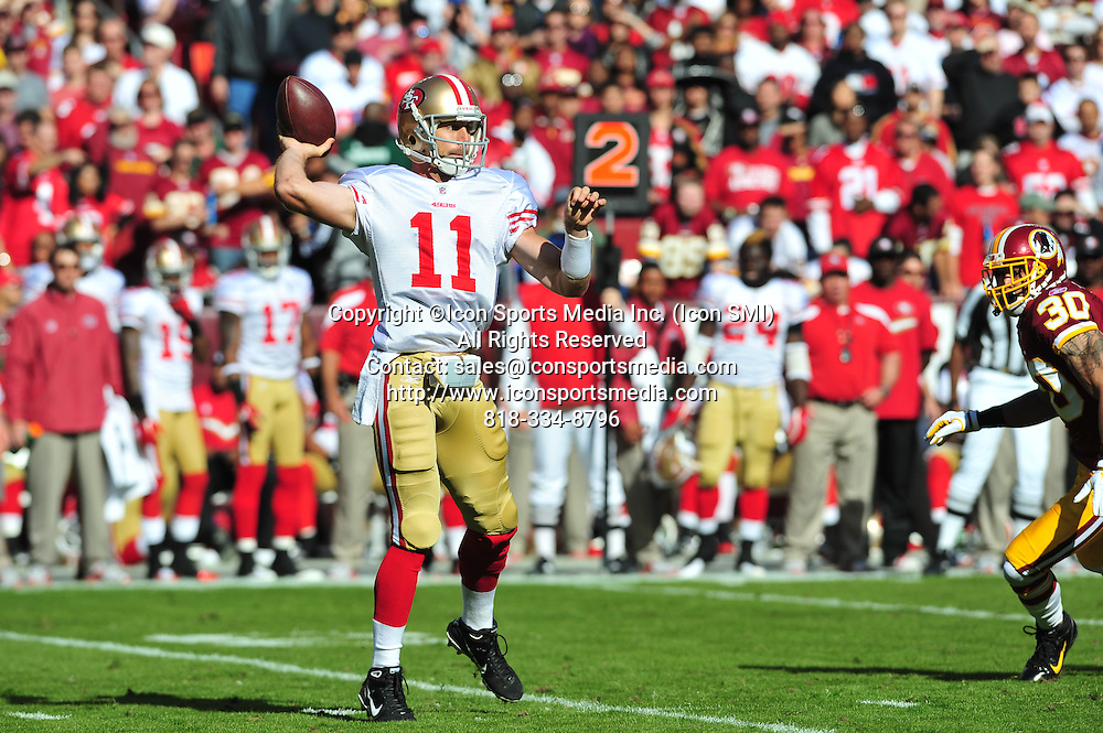 Nov. 06, 2011 - Landover, Maryland, United States of America - NFL game action in Landover Md; San Francisco 49ers quarterback Alex Smith (11) passing play..The 49ers defeat the Redskins at home 19 -11
