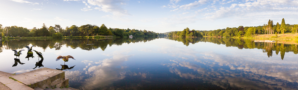 The lake and Capability Brown landscae, photographed in July just after dawn, at Trentham Gardens, Staffordshire