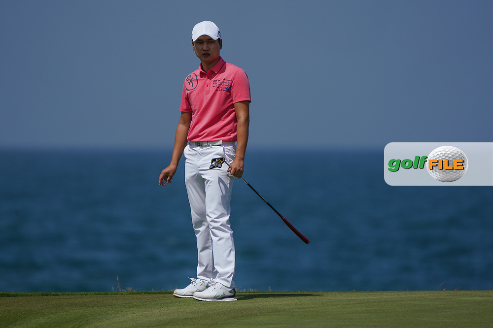 Jeunghun Wang (KOR) on the 9th during Round 3 of the Oman Open 2020 at the Al Mouj Golf Club, Muscat, Oman . 29/02/2020<br /> Picture: Golffile | Thos Caffrey<br /> <br /> <br /> All photo usage must carry mandatory copyright credit (© Golffile | Thos Caffrey)