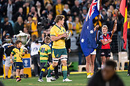 SYDNEY, NSW - AUGUST 18: Australian player Michael Hooper (c) (7) runs on to the field at the Bledisloe Cup rugby test match between Australia and New Zealand at ANZ Stadium in Sydney on August 18, 2018. (Photo by Speed Media/Icon Sportswire)