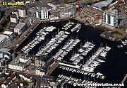 aerial photograph of Sutton Harbour Marina Plymouth Devon , England UK