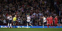 BIRMINGHAM, ENGLAND - Monday, October 13, 2008: England's Tom Huddlestone celebrates scoring the first goal against Wales during the UEFA European Under-21 Championship Play-Off 2nd Leg match at Villa Park. (Photo by Gareth Davies/Propaganda)