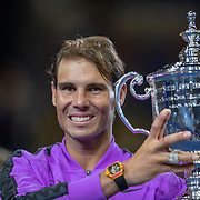 2019 US Open Tennis Tournament- Day Fourteen.   Rafael Nadal of Spain with the winners trophy after his five set victory against Danill Medvedev of Russia in the Men's Singles Final on Arthur Ashe Stadium during the 2019 US Open Tennis Tournament at the USTA Billie Jean King National Tennis Center on September 8th, 2019 in Flushing, Queens, New York City.  (Photo by Tim Clayton/Corbis via Getty Images)