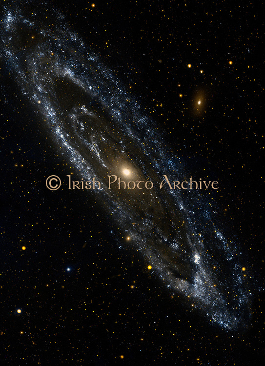The large galaxy in Andromeda, Messier 31. The Andromeda galaxy is the most massive in the local group of galaxies that includes our Milky Way. Andromeda is the nearest large galaxy to our own. GALEX Orbiter.