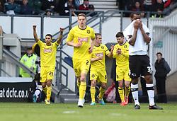 Huddersfield's Nahki Wells celebrates his goal - Photo mandatory by-line: Matt Bunn/JMP - Tel: Mobile: 07966 386802 -12/04/2014 - SPORT - FOOTBALL - IPRO Stadium- Derby - Derby County v Huddersfield- Sky Bet Championship