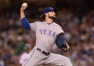 June 12, 2018 - Los Angeles, CA, U.S. - LOS ANGELES, CA - JUNE 12: Texas Rangers relief pitcher Tony Barnette (43) pitches during the game between the Texas Rangers and the Los Angeles Dodgers on June 12, 2018, at Dodger Stadium in Los Angeles, CA. (Photo by David Dennis/Icon Sportswire) (Credit Image: © David Dennis/Icon SMI via ZUMA Press)