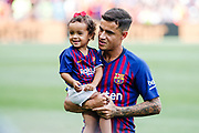 Philippe Coutinho of FC Barcelona with his daughter during the Spanish championship La Liga football match between FC Barcelona and Huesca on September 2, 2018 at Camp Nou Stadium in Barcelona, Spain - Photo Xavier Bonilla / Spain ProSportsImages / DPPI / ProSportsImages / DPPI