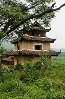 The tower of an ethnic minority wind and rain bridge in rural china.