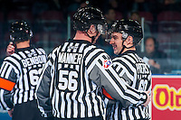 KELOWNA, CANADA - OCTOBER 21: Referee Troy Paterson and linesman Cody Wanner on October 21, 2016 at Prospera Place in Kelowna, British Columbia, Canada.  (Photo by Marissa Baecker/Shoot the Breeze)  *** Local Caption ***