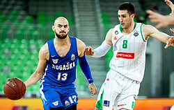 Mirza Sarajlija of Rogaska vs Aleksandar Lazic of Petrol Olimpija during basketball match between KK Petrol Olimpija and KK Rogaska in Round #5 of Liga Nova KBM za prvaka 2018/19, on March 31, 2019, in Arena Stozice, Ljubljana, Slovenia. Photo by Masa Kraljic / Sportida