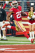 San Francisco 49ers running back Matt Breida (22) scores a touchdown against the Jacksonville Jaguars at Levi's Stadium in Santa Clara, Calif., on December 24, 2017. (Stan Olszewski/Special to S.F. Examiner)