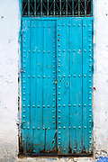 CHEFCHAOUEN, MOROCCO - 29th MARCH 2014 - Blue doorway architecture in the Chefchaouen Medina - the blue city - Rif Mountains, Northern Morocco.