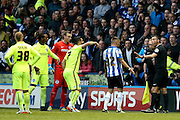 Referee Andre Mariner disallows Sheffield Wednesday  goal during the Sky Bet Championship play-off first leg match between Sheffield Wednesday and Brighton and Hove Albion at Hillsborough, Sheffield, England on 13 May 2016. Photo by Simon Davies.