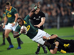 South Africa's Tendai Mtawarira tackled by New Zealand's Sam Whitelock in the Investic Championship rugby test match at QBE Stadium, Albany, Auckland New Zealand, Saturday, September 16, 2017. Credit:SNPA / Ross Setford** NO ARCHIVING**