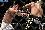 "LONDON, ENGLAND, JUNE 7, 2008: Andoni Hardonk (left) grapples with Eddie Sanchez during ""UFC 85: Bedlam"" inside the O2 Arena in Greenwich, London on June 7, 2008."