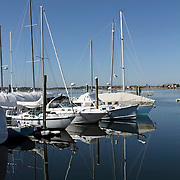 Sailboats moored in the harbor. Newport, Rhode Island, USA