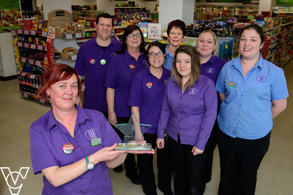 Lincolnshire Co-operative's Celebrating Success Evening winners.  Willoughby Road food store in Scunthorpe were awarded the outstanding customer service award.  Pictured is manager Sue Jarvill (front) with colleagues Stuart Buckfield, Jane Rowell, Sharon Winter, Linda Dawson, Laura Davis, Carole Grant and Claire Rumble.<br /> <br /> Picture: Chris Vaughan Photography for Lincolnshire Co-op<br /> Date: March 27, 2017