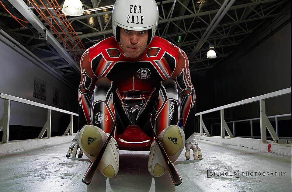 John Fennell, Luge Canada, 2014 Canadian Doubles Olympic Luge Team photographed by Calgary commercial photographer Brett Gilmour.