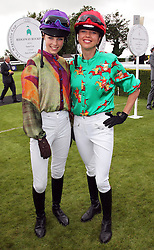 Edie Campbell and Sara Cox take part in a ladies race at  Ladies Day at Glorious Goodwood, Thursday, 2nd August 2012 Photo by: Stephen Lock / i-Images