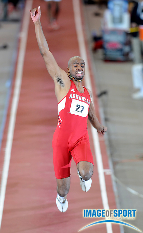 Mar 14, 2008; Fayetteville, AR, USA; Alain Bailey of Arkansas was seventh in the long jump at 25-10 1/4 (7.88m) in the NCAA indoor track and field championships at the Randal Tyson Center.
