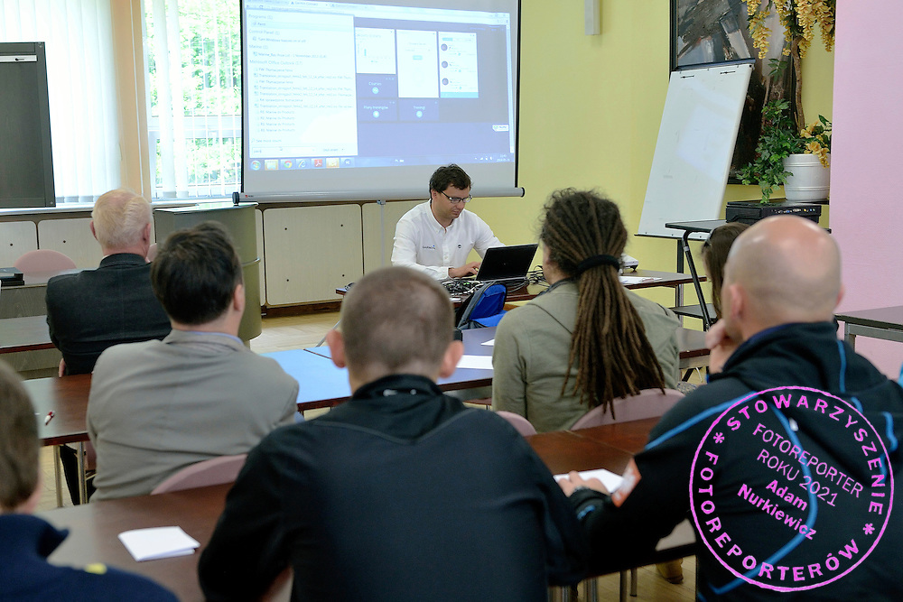 Maciej Zalewski (Garmin Polska) speaks during conference of olympic trainers and coaches at COS (Centralny Osrodek Sportowy) in Spala on May 14, 2014.<br /> <br /> Poland, Spala, May 14, 2014<br /> <br /> Picture also available in RAW (NEF) or TIFF format on special request.<br /> <br /> For editorial use only. Any commercial or promotional use requires permission.<br /> <br /> Mandatory credit:<br /> Photo by &copy; Adam Nurkiewicz / Mediasport
