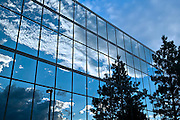 Architectural detail image of glass building reflectinng clouds and pine trees