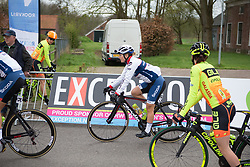 Lotta Lepistö (FIN) of Cervélo-Bigla Cycling Team rides to sign-on before Stage 4 of the Healthy Ageing Tour - a 126.6 km road race, starting and finishing in Finsterwolde on April 8, 2017, in Groeningen, Netherlands.
