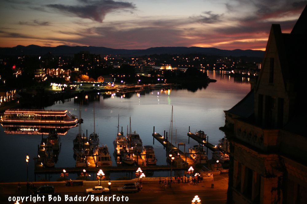 Sunset on Victoria Harbor from Fairmont Princess hotel in Victoria British Columbia